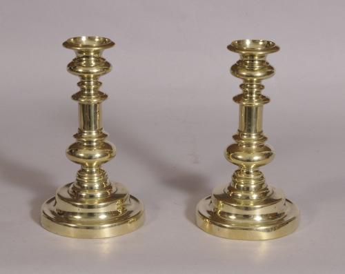 S/3634 Antique 19th Century Pair of Brass Candlesticks