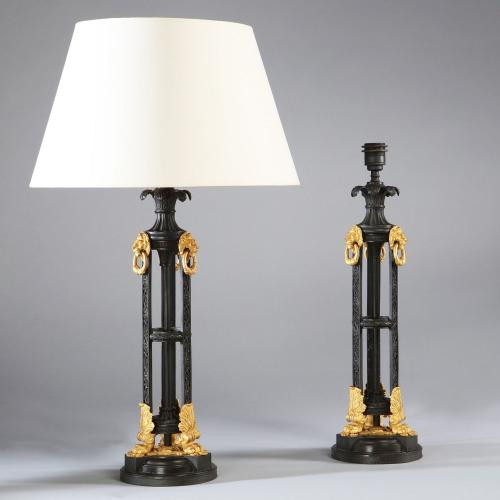 A Pair of Bronze and Ormolu Lamps