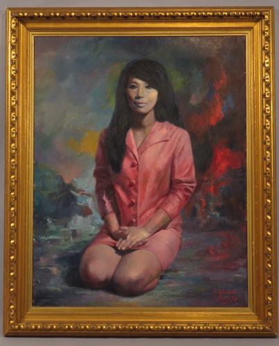 A Mid 20th Century Oil on Canvas Portrait of a Seated Girl