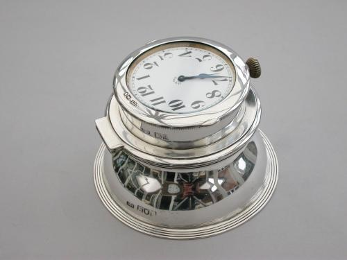 Large Edwardian Silver Mounted Double Watch Capstan Inkwell