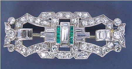 Art Deco Platinum Diamond & Emerald Brooch c1920