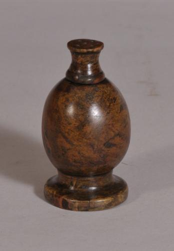 S/3640 Antique Treen 19th Century Burr Elm Spice or Pepper Shaker