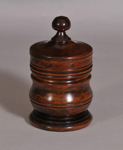S/3641 Antique Treen Georgian Plum Wood Spice Pot