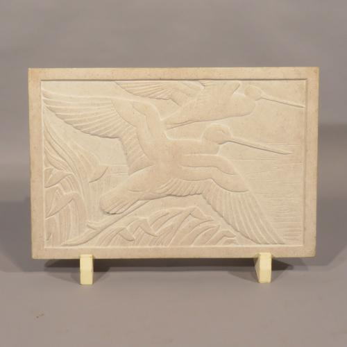 A mid 20th Century Relief Carved Stone Plaque By Rosamund Fletcher