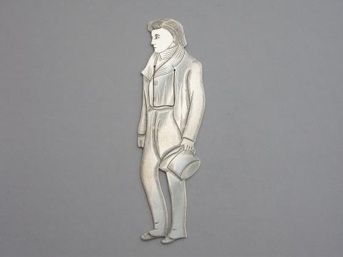 Edwardian Novelty Silver Figural Bookmark Charles Dickens 'Nicholas Nickleby'