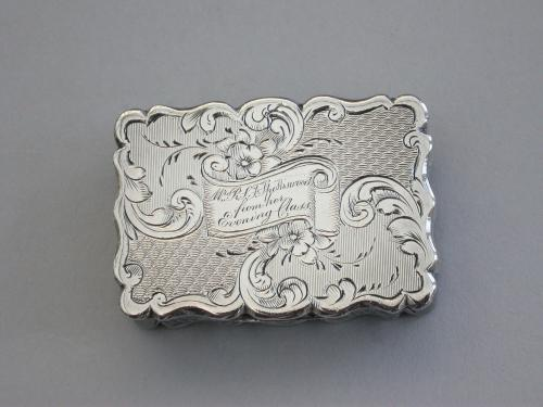"Victorian Silver Vinaigrette - ""A Present For Mrs Spottiswood From Her Evening Class"""