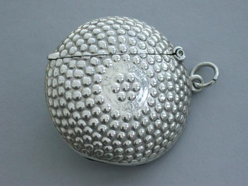 George V Novelty Silver Beaded Golf Ball Vesta Case