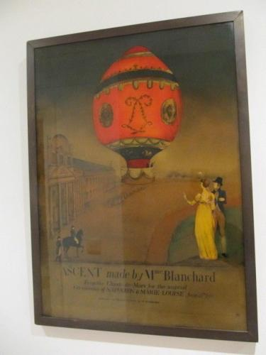 Verre eglomise of the balloon ascent made by Madame Blanchard