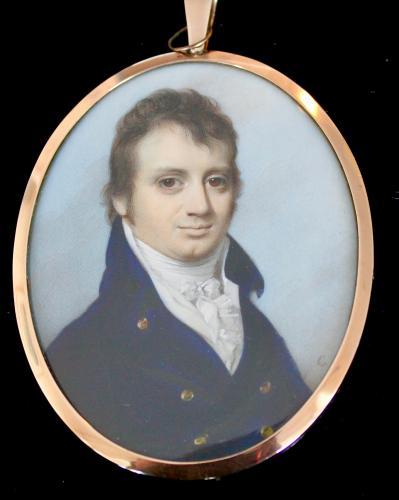 A portrait miniature of Mathew Vaughan in blue jacket