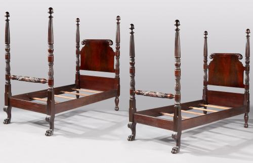 A pair of 19th century, mahogany, 'antiquarian', half-tester beds