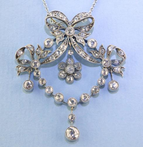 18ct & Silver Set Belle Epoque Diamond Pendant / Brooch