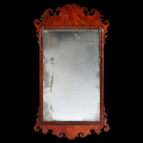 A Finely Figured Georgian Mahogany Mirror