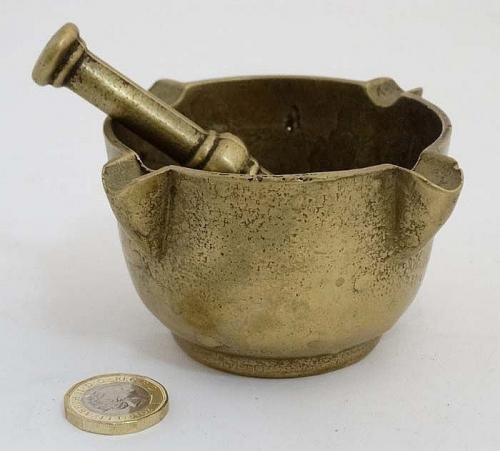 A small 19th century bronze mortar and pestle