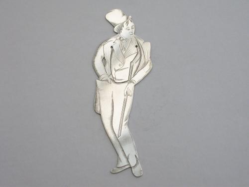 Edwardian Novelty Silver Figural Bookmark Charles Dickens 'Dick Swiveller'