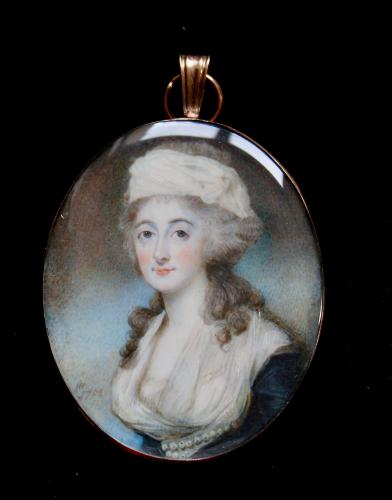 An 18th century portrait miniature of a Lady painted on ivory