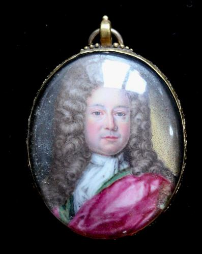 An early 18th century enamel portrait miniature of a nobleman