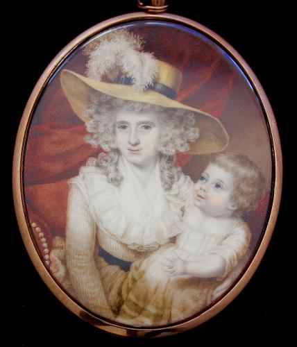 18th century portrait miniature of Lady Lucy Digby (1748-1787) with her Son