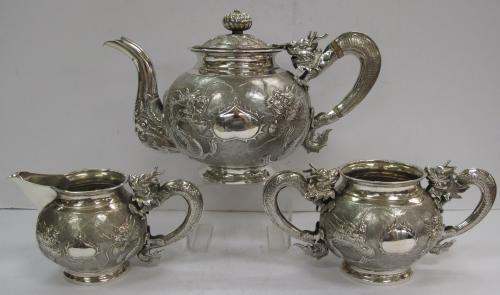 Chinese Export Silver Teaset