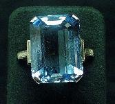 Art Deco Platinum & Aquamarine Ring c1930