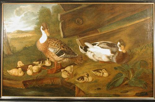 18th Century Continental Oil Painting on Canvas of Ducks