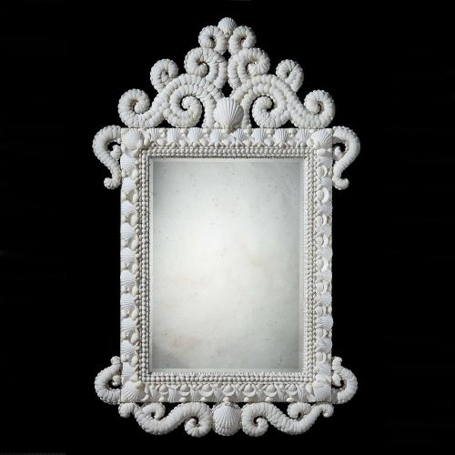 A Fine Large Scale White Shell Mirror