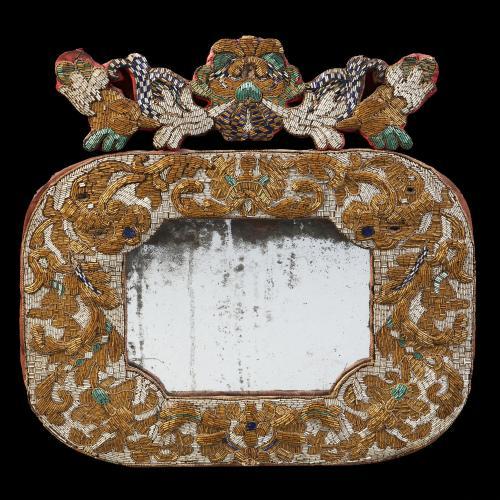 A Rare Late 17th Century Bead Work Mirror