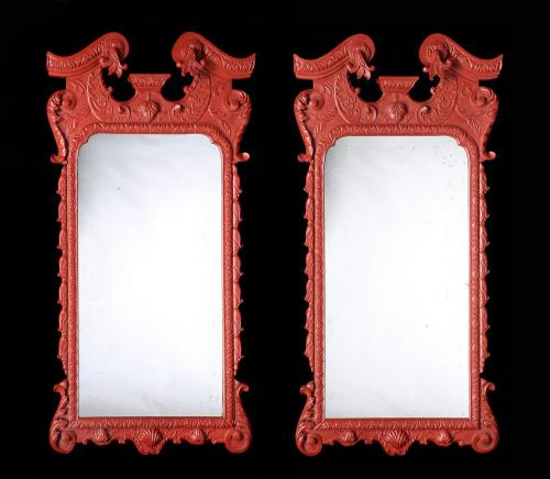 An Overscale Pair of Painted Mirrors