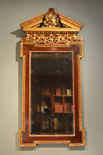 18th Century Palladian Mahogany and Parcel Gilt Mirror