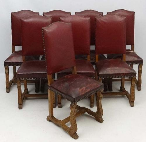 A set of eight Burgundian leather upholstered sidechairs