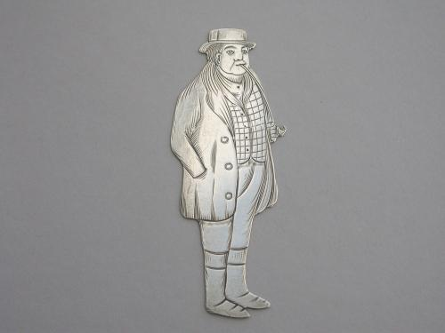 Edwardian Novelty Silver Figural Bookmark Charles Dickens 'Tony Weller'
