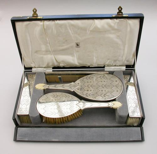 Cased Art Deco 5 Piece Silver, Ivory & Niello Dressing Table Set