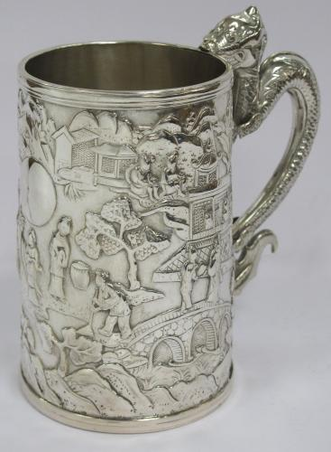 Antique Gothic 'K' Chinese Silver Mug