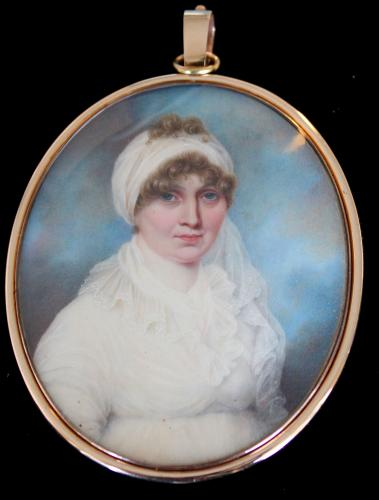 A 19th century portrait miniature of Mrs. Thomas Pagan