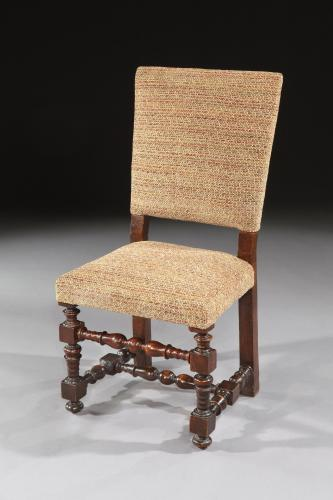 A 19th century Italian walnut chair upholstered in missoni