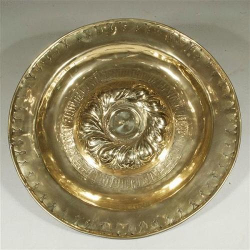 17th Century Nuremburg Antique Alms Dish