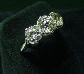 Platinum & Diamond Three Stone Diamond Ring c1950