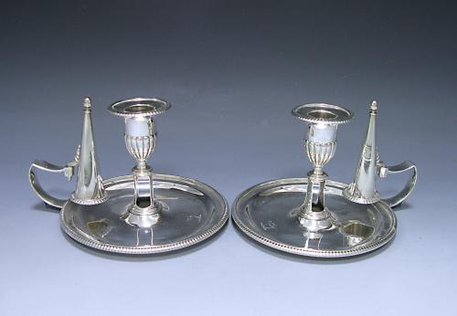 Pair of George III Antique Silver Chambersticks