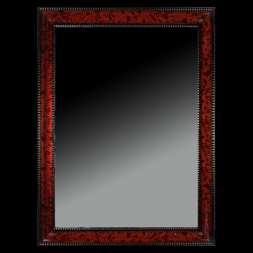 A Mid 19th Century Red Tortoiseshell Mirror of Large Scale