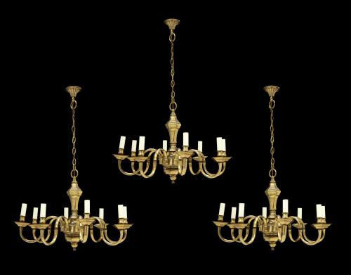 A set of three, Antiquarian, 8-arm, electrified, brass chandeliers