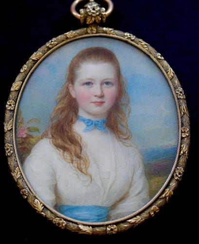 Victorian portrait miniatures of Mrs. R.J. Maxwell and Miss R.T. Maxwell