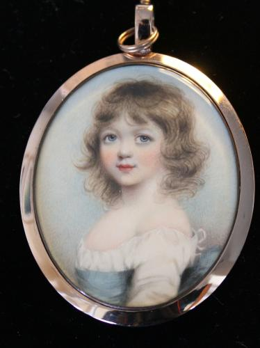A 19th century portrait miniature of an unknown girl