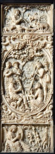 A pair of exceptional, carved, ivory panels after the panels in the Maximillian I Coin Cabinet by Christof Angermair