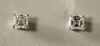 Platinum & Diamond Stud Earrings c1960