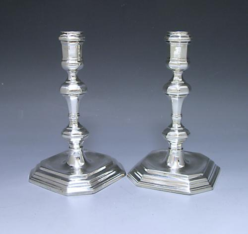 Pair of Queen Anne Antique Silver Candlesticks