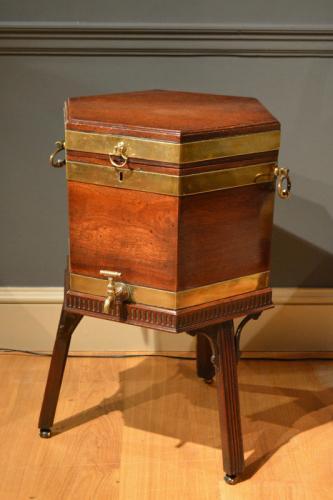 A George III brass bound hexagonal wine cooler