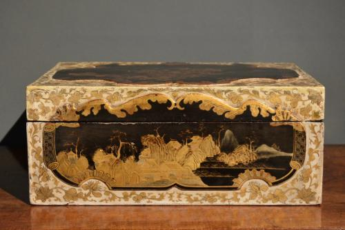 A Chinese Export white black and gold lacquer box