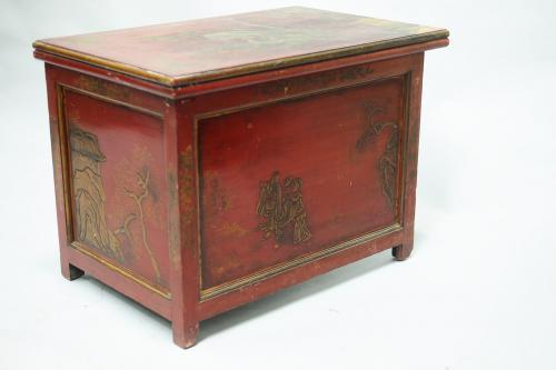 A late 19th Century chinoiserie, red lacquer, table from Clive Lodge