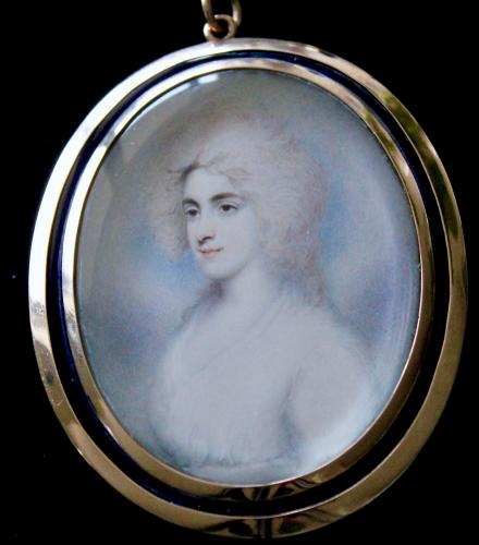 An 18th century unfinished portrait miniature of a Lady