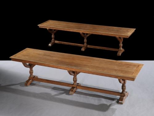 A pair of 3m long mahogany library tables