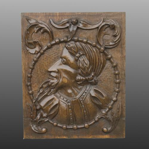 A 16th Century Oak Panel Depicting a Nobleman